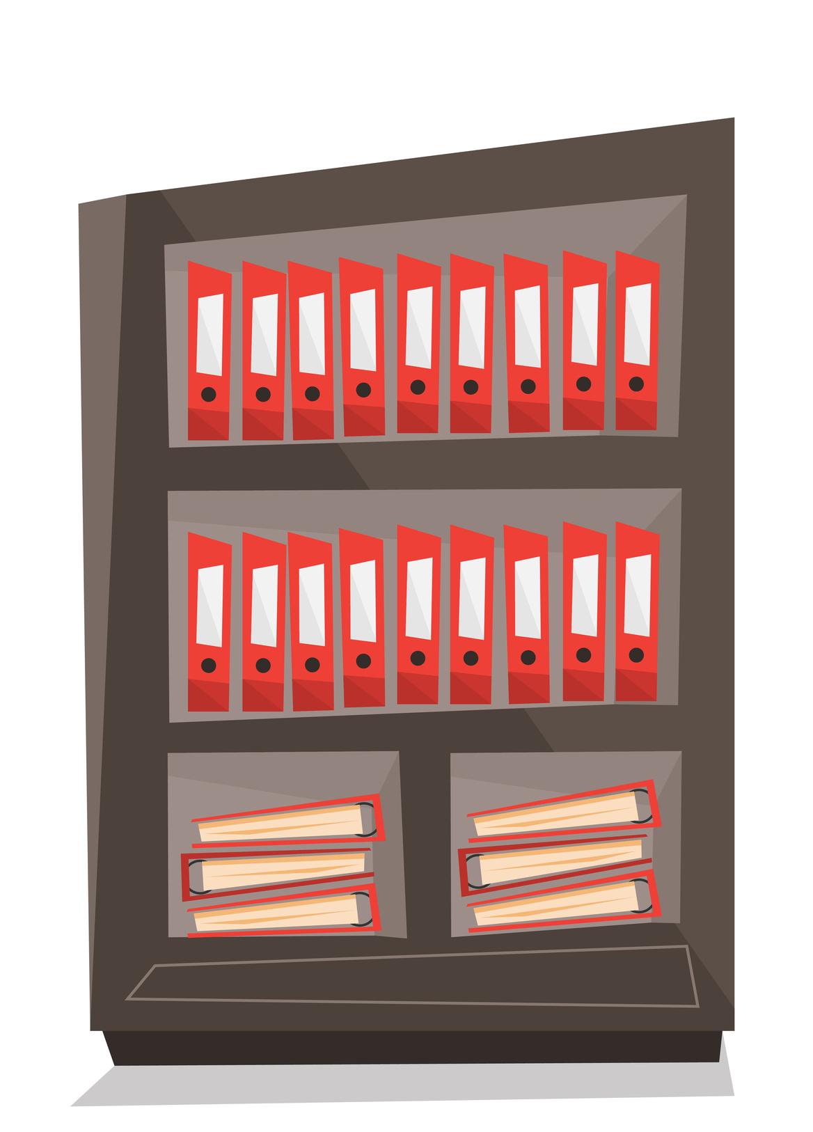 Office shelves with folders vector illustration.